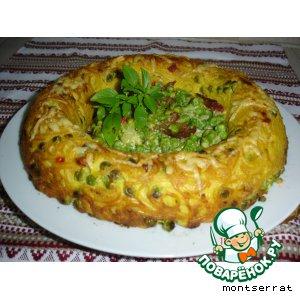 Рецепт Корона из спагетти с зеленым горошком и ветчиной