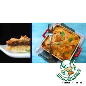 Рецепт Запеканка из картофеля, курицы и грибов под рубленым тестом