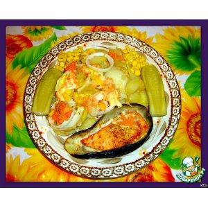 Рецепт Запеченный баклажан с лососем