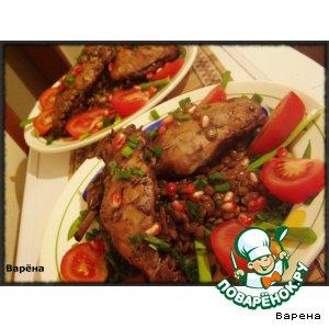 Рецепт Кролик с чечевицей в гранатово-коньячном соусе