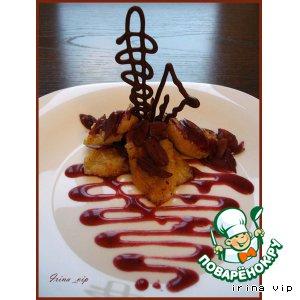 """Рецепт Десерт """"Банановый рай"""" - жареные бананы с орехово-винным соусом"""