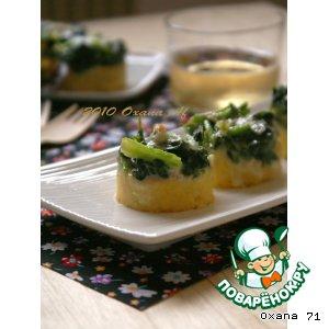 """Рецепт Полента, запечeнная с сыром """"Горгонзолла"""" и шпинатом"""