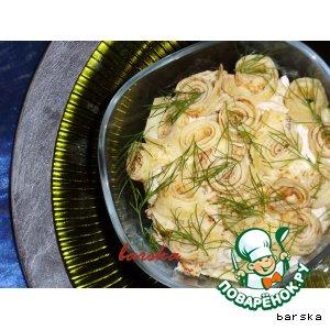 Рецепт Салат из блинов с курицей