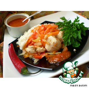 Рецепт Курица с овощами и соусом «Пири-пири»