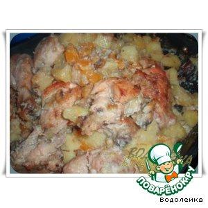 Рецепт Запеченная курица с тыквой и грибами