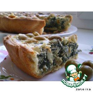 Рецепт Зеленый пирог со шпинатом и оливками