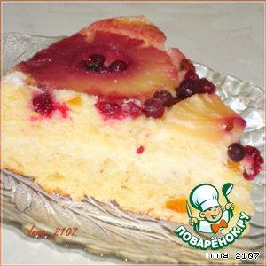 Рецепт Творожный перевернутый кекс-бисквит с кремом и ананасами