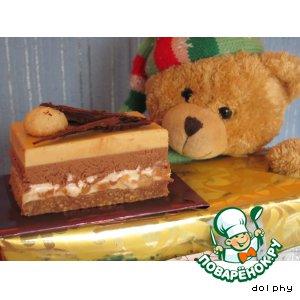 Рецепт Шоколадно-карамельное пирожное с нугой и орехами