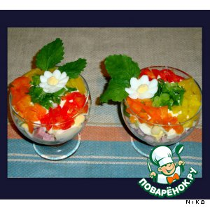 Рецепт Коктейль-салат из овощей с ветчиной