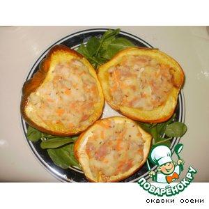 Рецепт Тыква, запеченная с курицей и овощами