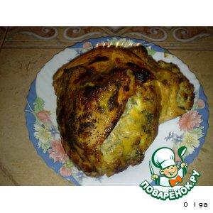 Рецепт Индюшиная грудка, фаршированная кедровыми орехами, сыром и пореем