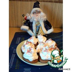 """Рецепт Новогодние пирожные с кремом """"Мокрое безе"""""""