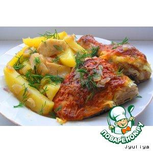 Рецепт Цыпленок с картофелем и яблоками