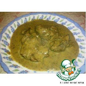 Рецепт Куриная печень в сливочном соусе