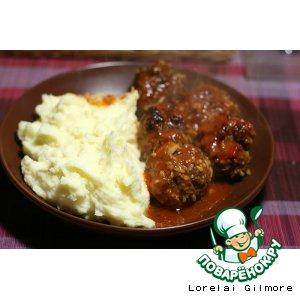 Рецепт Meatballs ft картофельное пюре+капустный салат