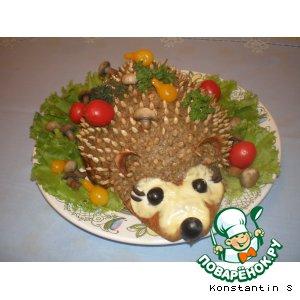 Печеночный торт с грибами ежик