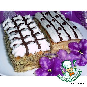 Рецепт Бисквитное пирожное с двумя видами крема