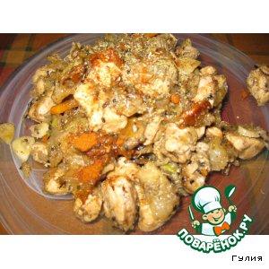 Рецепт Медовая курочка с фенхелем и овощами, приправленная кунжутом