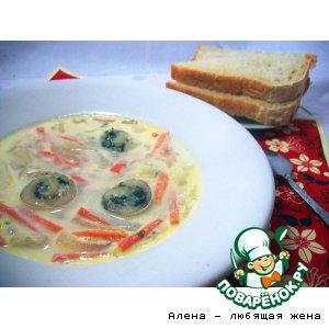 Рецепт Сливочный суп с рыбными спиральками