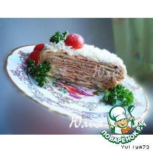 Рецепт Закусочный блинный торт