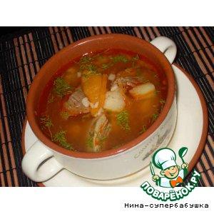 Рецепт Суп из говядины с курагой
