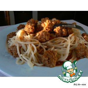 Рецепт Спагетти с тефтельками под острым томатным соусом