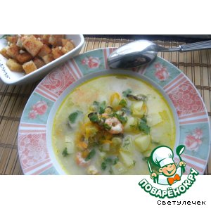 Рецепт Сырный суп с морепродуктами