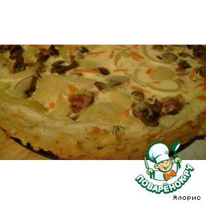 Рецепт Картофельный киш с печенью и грибами