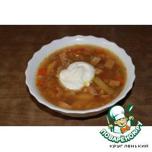 Рецепт Куриный суп с перловкой и грибами