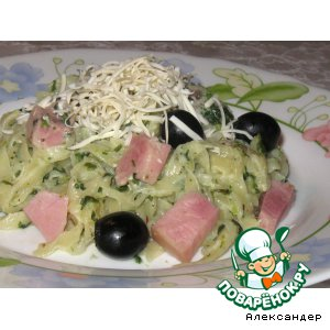 Готовим рецепт приготовления с фото Лапша со шпинатом и ветчиной