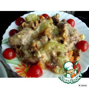 Рецепт Горшочек с овощами, мясом и лисичками в сметане