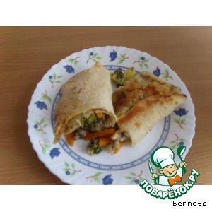 Рецепт Мясо с овощами, тушeное в лаваше