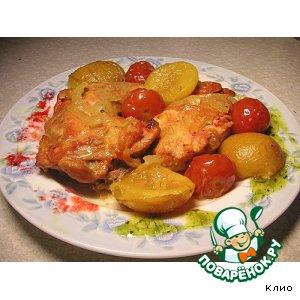 Рецепт Летняя курочка со сливами и черри