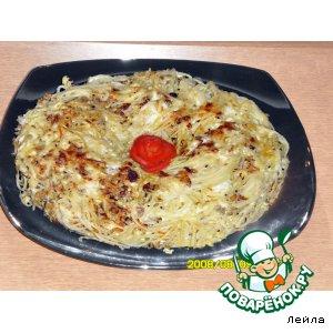 """Рецепт """"Венок"""" из спагетти"""