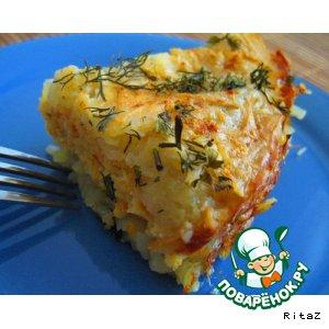 Рецепт Запеканка из тертого картофеля с рыбным фаршем