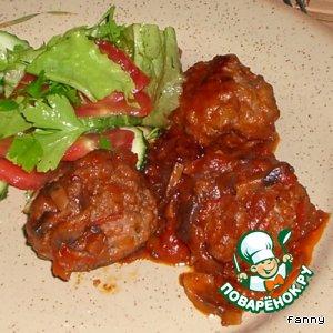 Рецепт Тефтели с кабачками под томатно-грибным соусом