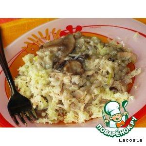 Рецепт Ризотто с курицей, грибами и луком-пореем