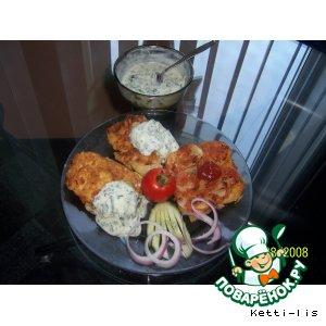 Рецепт Шницель капустный с запеченным картофелем в пряной томатной заливке