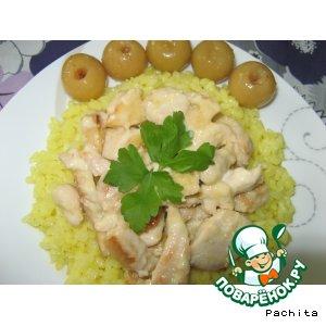 Рецепт Курица с айвой в сливочном соусе