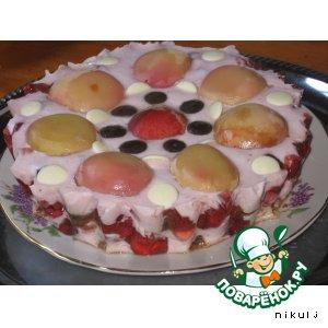 Рецепт Торт-десерт с персиками и земляникой