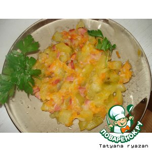 Рецепт Тушеные кабачки с сосисками