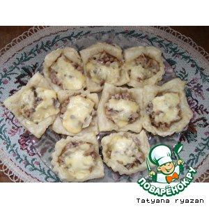 Рецепт Слоеные тарталетки с грибами