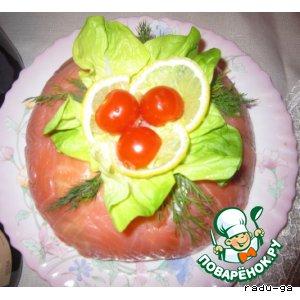 """Рецепт Салат из семги и креветок """"Классный"""""""