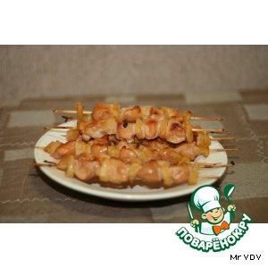 Рецепт Маринованная курица с ананасом  на деревянных  шпажках