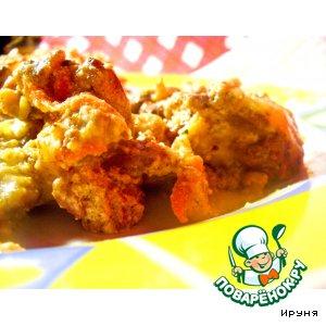 Рецепт Пикантная куриная печень в сырном соусе