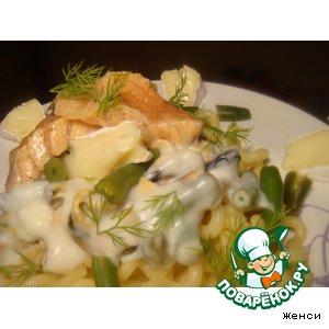 """Рецепт Паста под соусом """"Бешамель"""" с мидиями и маринованным лососем"""