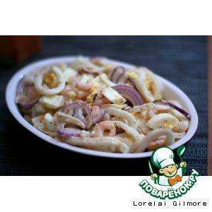 Рецепт Салат с кальмарами и креветками