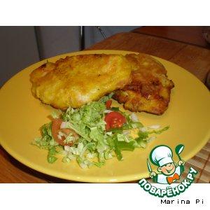 Рецепт Куриная грудка в кляре с куркумой и белой горчицей