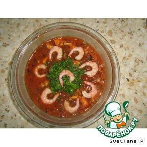 Рецепт Томатный суп с морепродуктами и лапшой