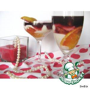 Рецепт Творожный десерт с фруктами и вином